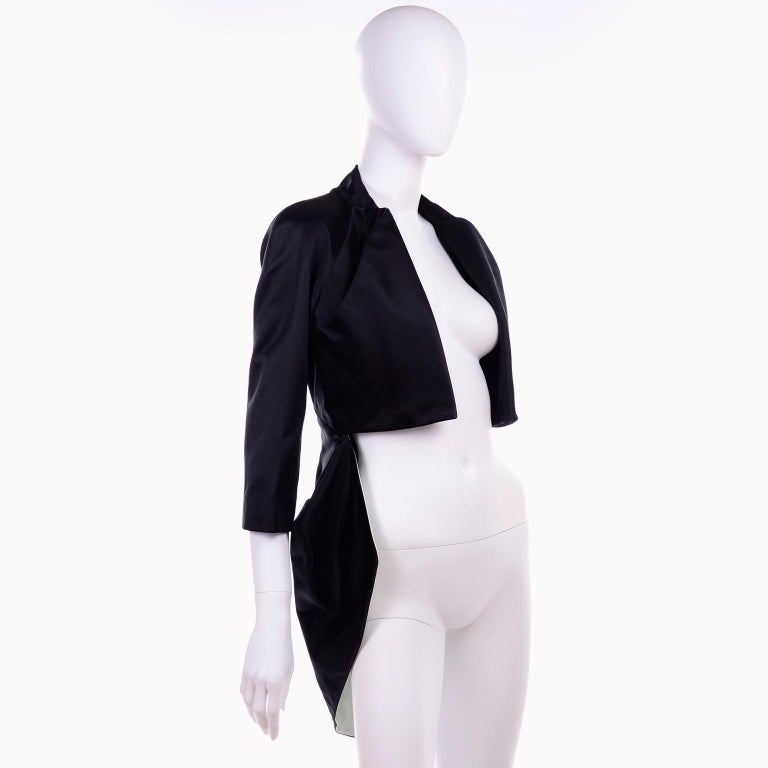 2009 Alexander McQueen Black Silk Cutaway Cropped Tuxedo Jacket With Tails In Excellent Condition For Sale In Portland, OR