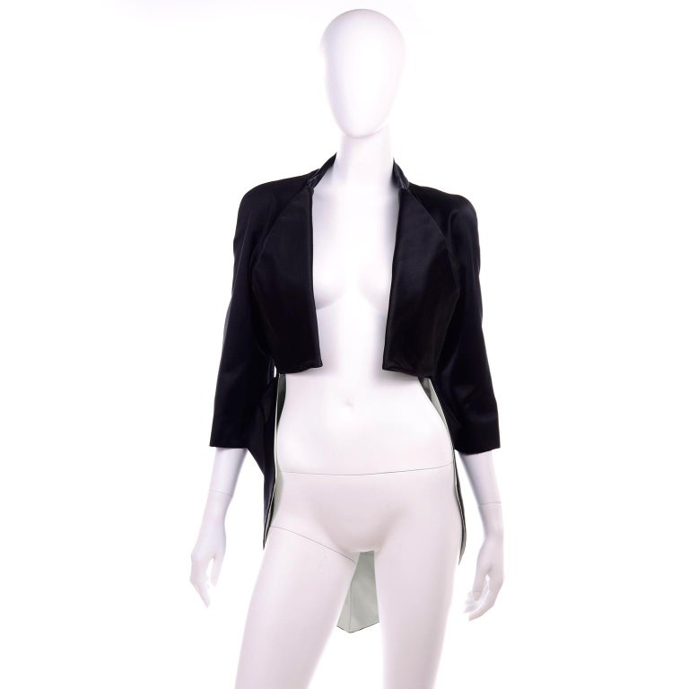 Women's 2009 Alexander McQueen Black Silk Cutaway Cropped Tuxedo Jacket With Tails For Sale