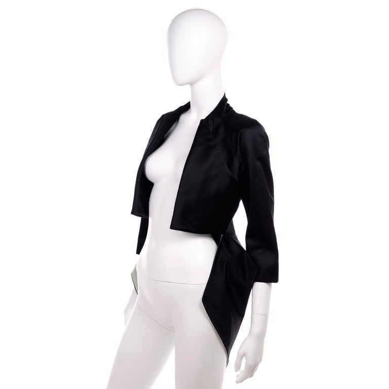 2009 Alexander McQueen Black Silk Cutaway Cropped Tuxedo Jacket With Tails For Sale 1