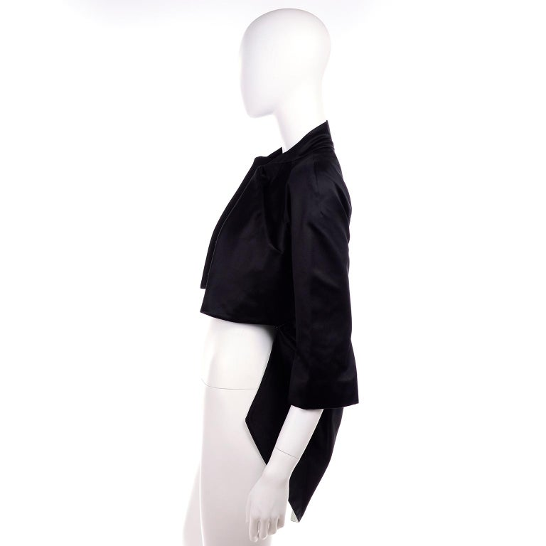 2009 Alexander McQueen Black Silk Cutaway Cropped Tuxedo Jacket With Tails For Sale 2