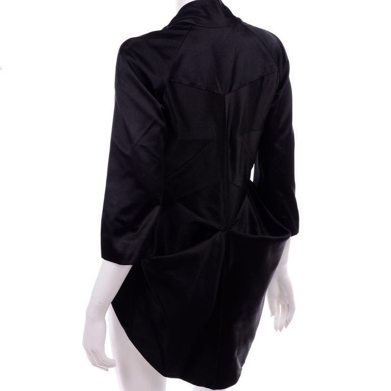 2009 Alexander McQueen Black Silk Cutaway Cropped Tuxedo Jacket With Tails For Sale 3