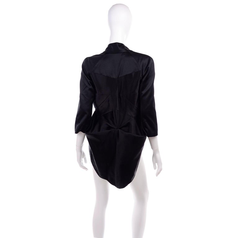 2009 Alexander McQueen Black Silk Cutaway Cropped Tuxedo Jacket With Tails For Sale 4