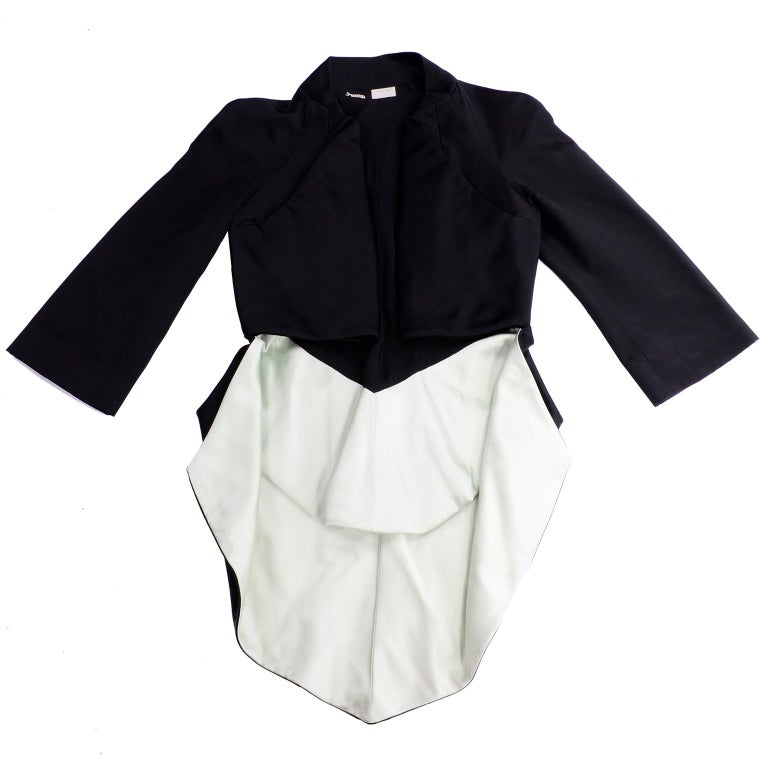 2009 Alexander McQueen Black Silk Cutaway Cropped Tuxedo Jacket With Tails For Sale 5