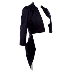 2009 Alexander McQueen Black Silk Cutaway Cropped Tuxedo Jacket With Tails