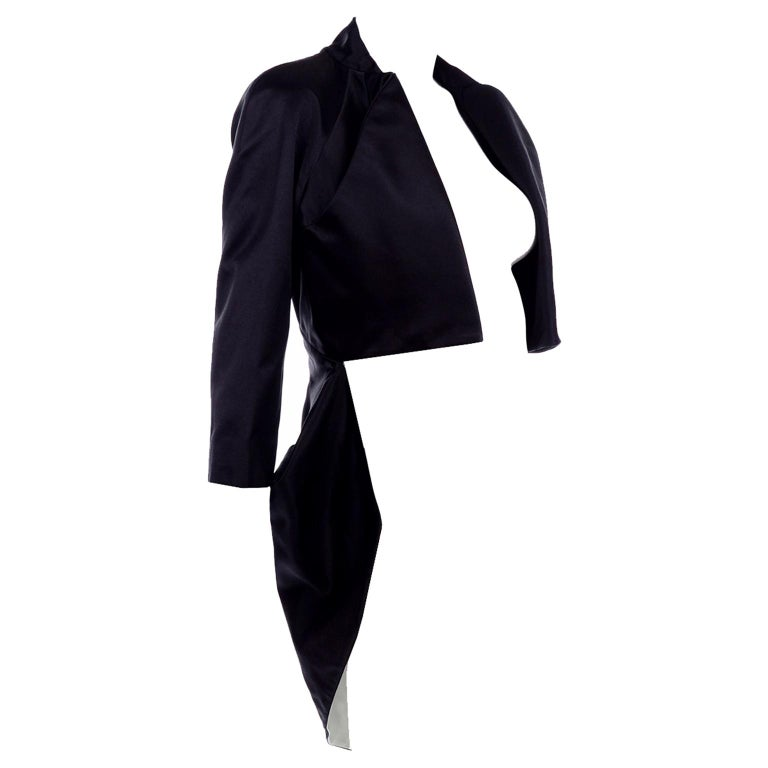2009 Alexander McQueen Black Silk Cutaway Cropped Tuxedo Jacket With Tails For Sale