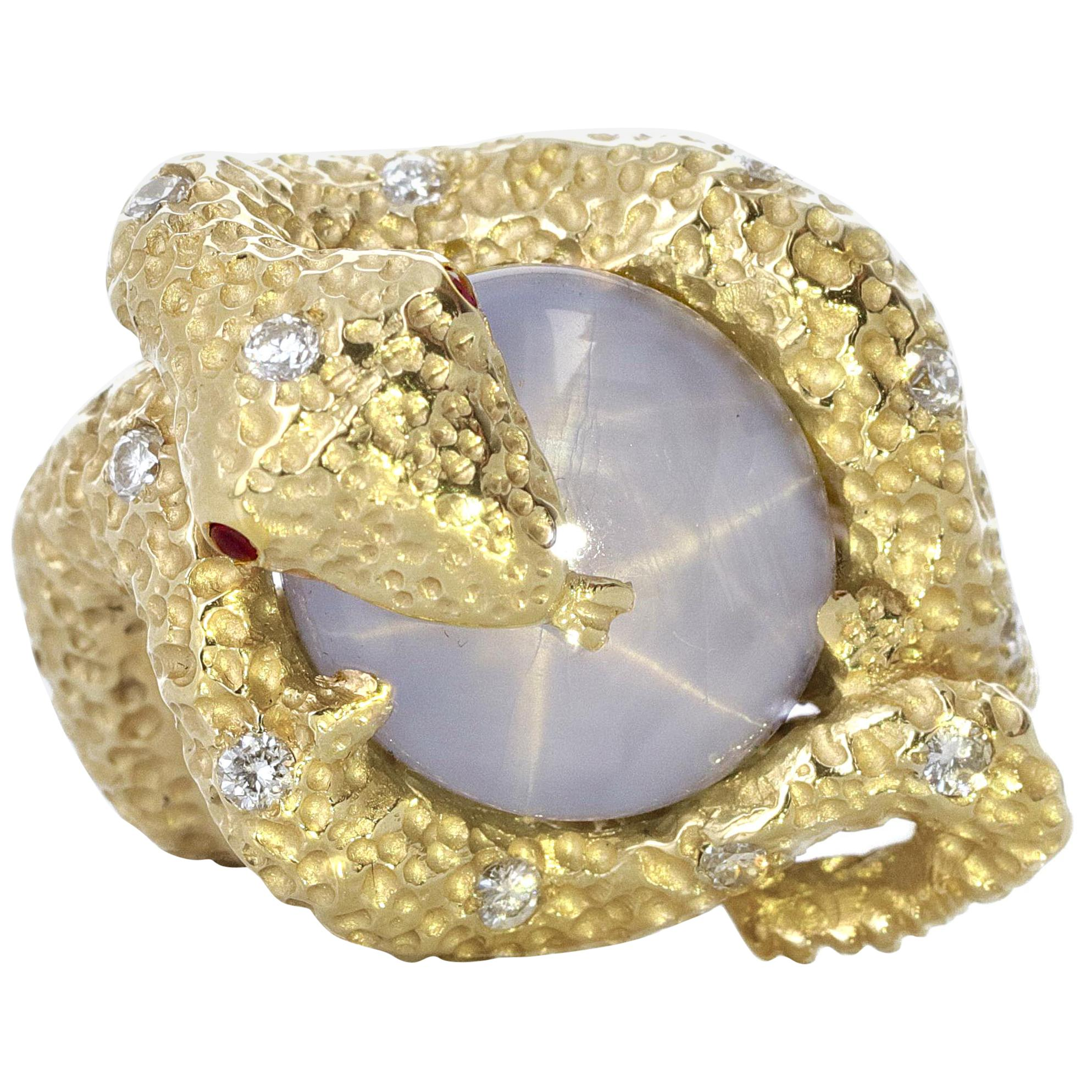 20.09 Carat Star Sapphire Snake Ring