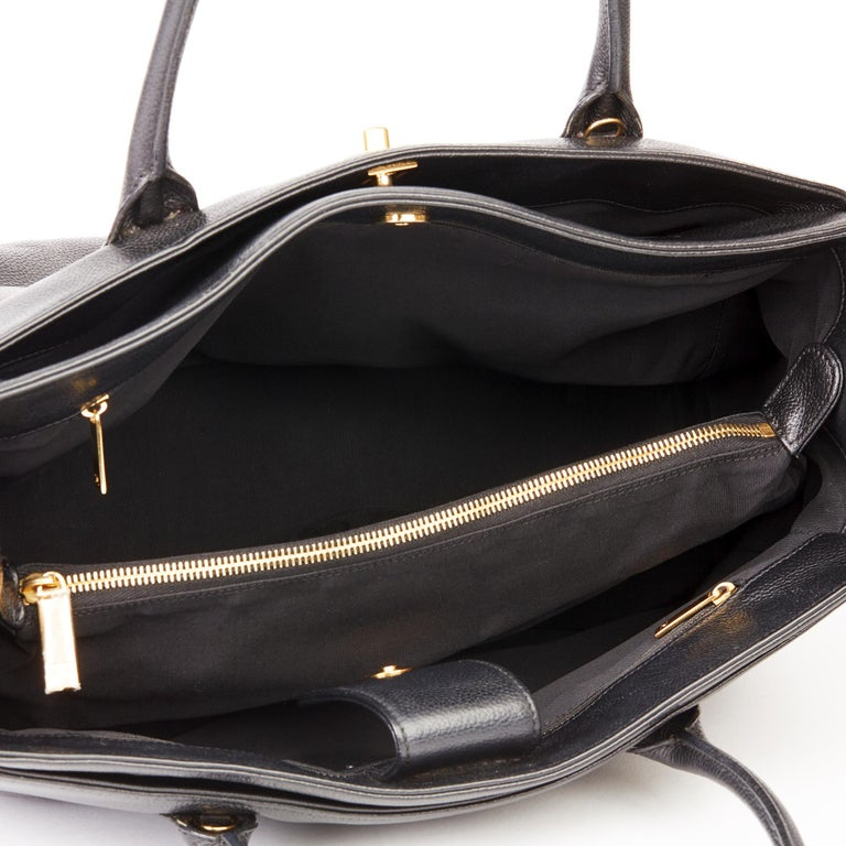 2009 Chanel Black Calfskin Leather Cerf Tote For Sale 7