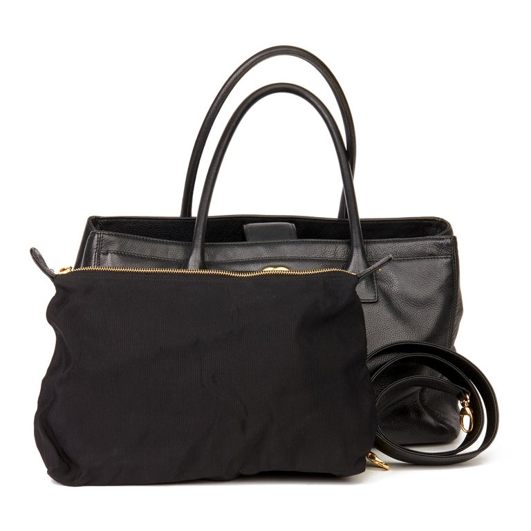 2009 Chanel Black Calfskin Leather Cerf Tote For Sale 8