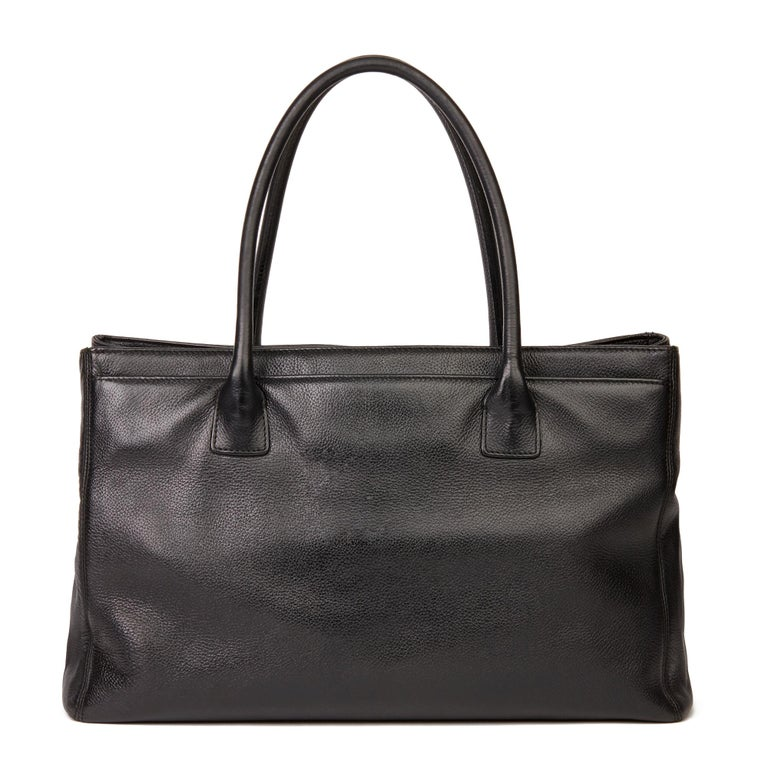 2009 Chanel Black Calfskin Leather Cerf Tote For Sale 1