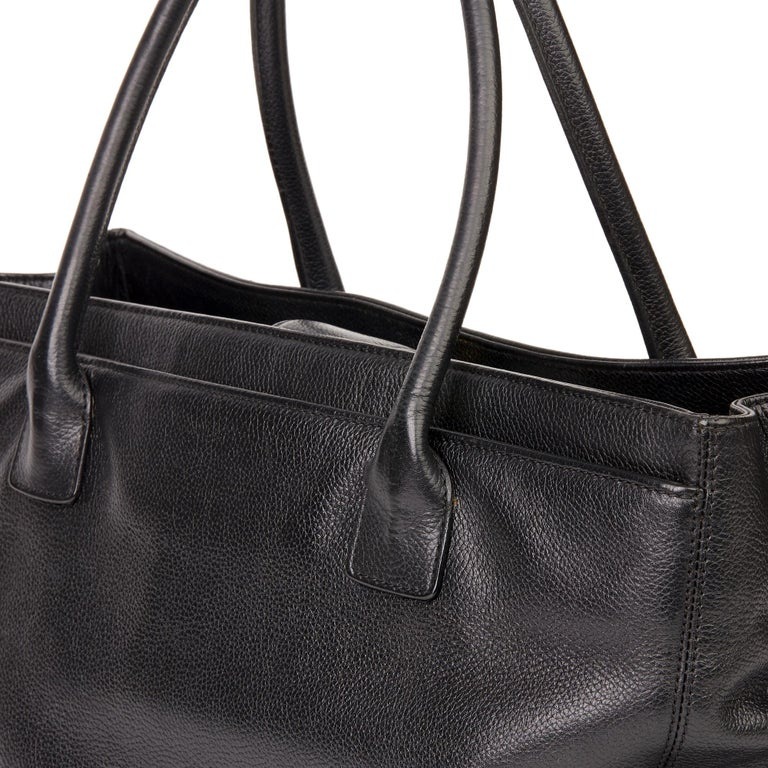 2009 Chanel Black Calfskin Leather Cerf Tote For Sale 4