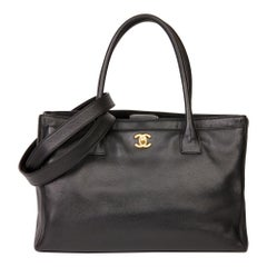 2009 Chanel Black Calfskin Leather Cerf Tote