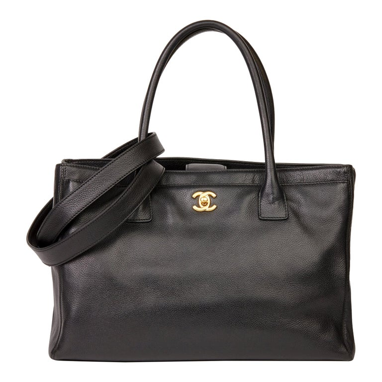 2009 Chanel Black Calfskin Leather Cerf Tote For Sale