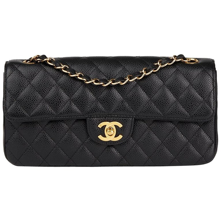4c93825e3cd5a7 2009 Chanel Black Quilted Caviar Leather East West Classic Single Flap Bag  For Sale.