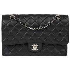2009 Chanel Black Quilted Caviar Leather Medium Classic Double Flap Bag