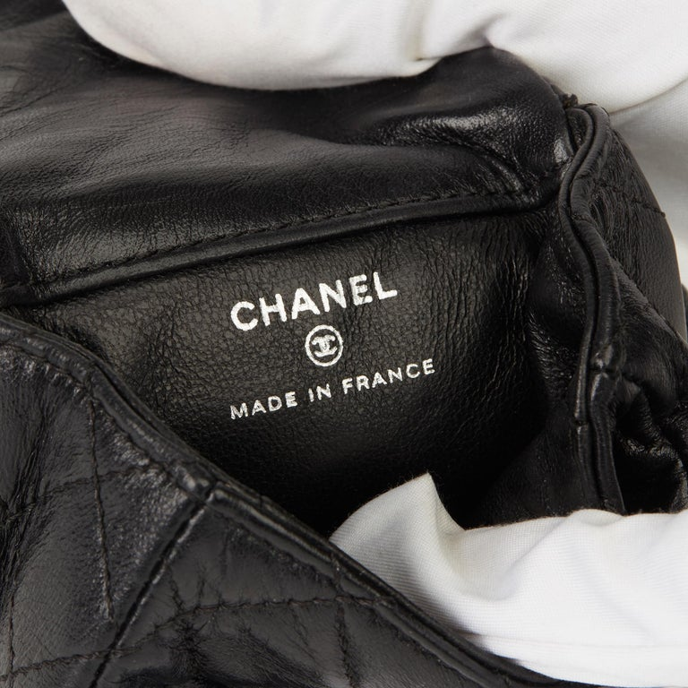 2009 Chanel Black Quilted Lambskin 2.55 Reissue Micro Ankle Flap Bag  For Sale 6