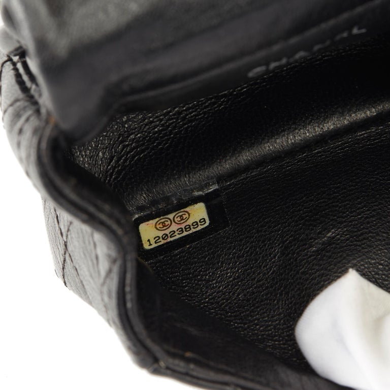2009 Chanel Black Quilted Lambskin 2.55 Reissue Micro Ankle Flap Bag  For Sale 7