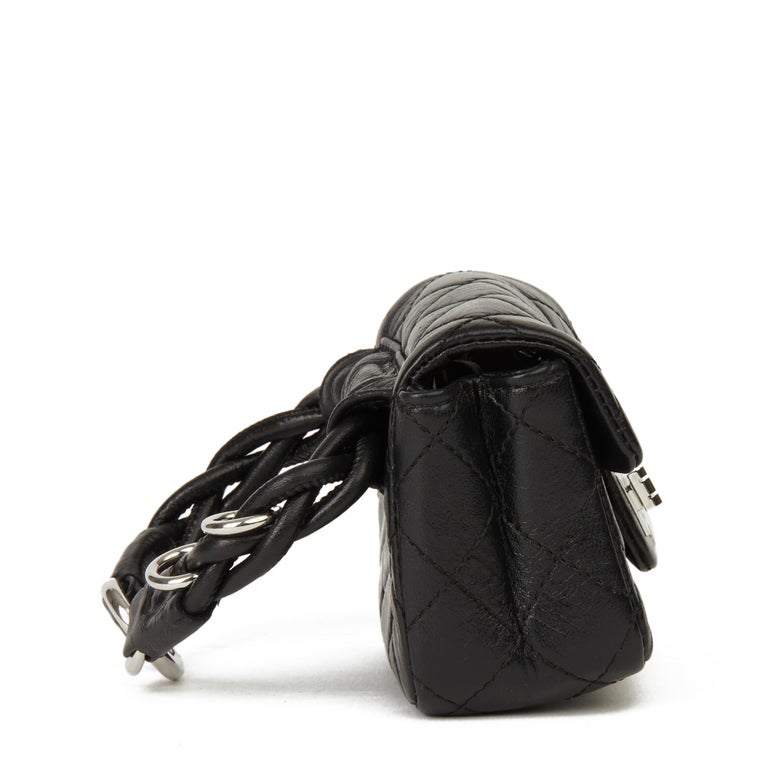 Women's 2009 Chanel Black Quilted Lambskin 2.55 Reissue Micro Ankle Flap Bag  For Sale