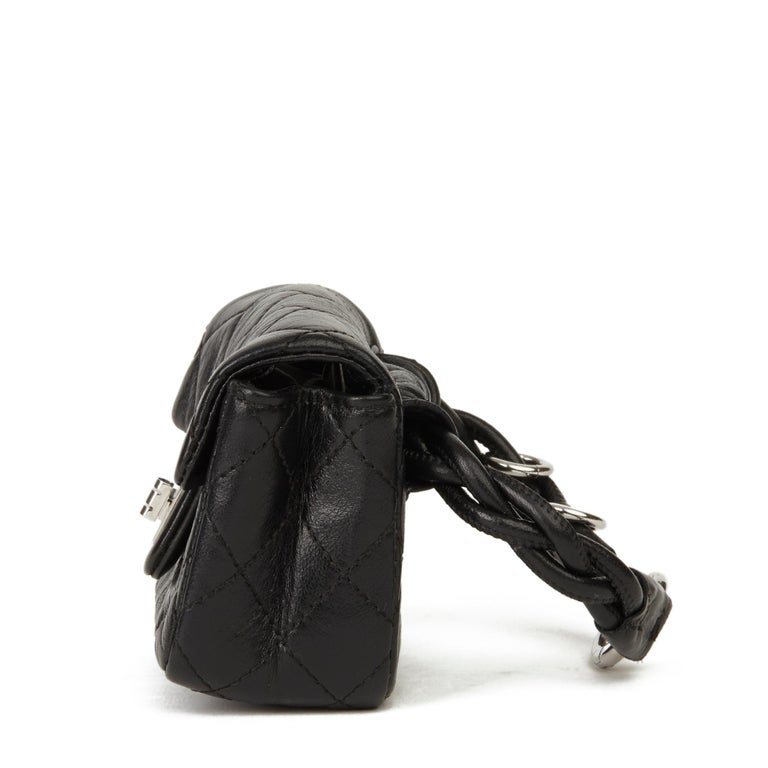 2009 Chanel Black Quilted Lambskin 2.55 Reissue Micro Ankle Flap Bag  For Sale 1