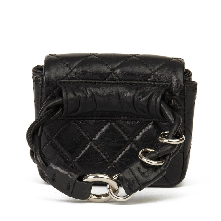 2009 Chanel Black Quilted Lambskin 2.55 Reissue Micro Ankle Flap Bag  For Sale 2