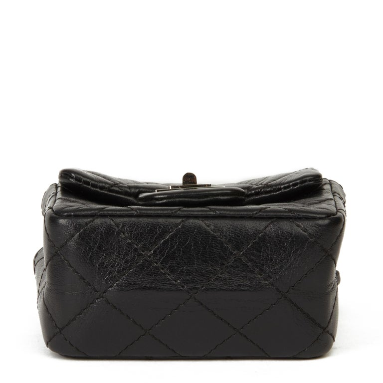 2009 Chanel Black Quilted Lambskin 2.55 Reissue Micro Ankle Flap Bag  For Sale 3