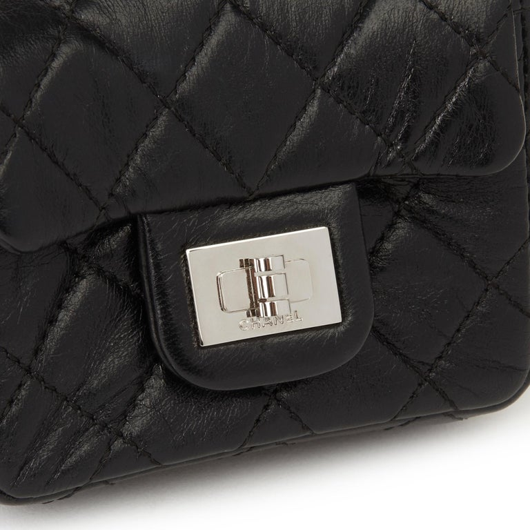 2009 Chanel Black Quilted Lambskin 2.55 Reissue Micro Ankle Flap Bag  For Sale 4