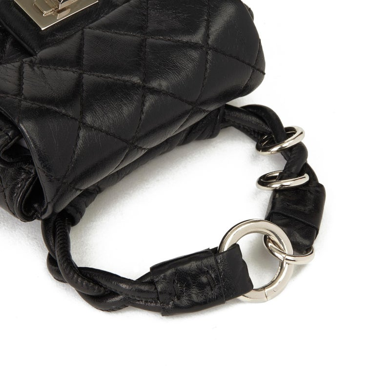 2009 Chanel Black Quilted Lambskin 2.55 Reissue Micro Ankle Flap Bag  For Sale 5