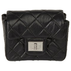 2009 Chanel Black Quilted Lambskin 2.55 Reissue Micro Ankle Flap Bag