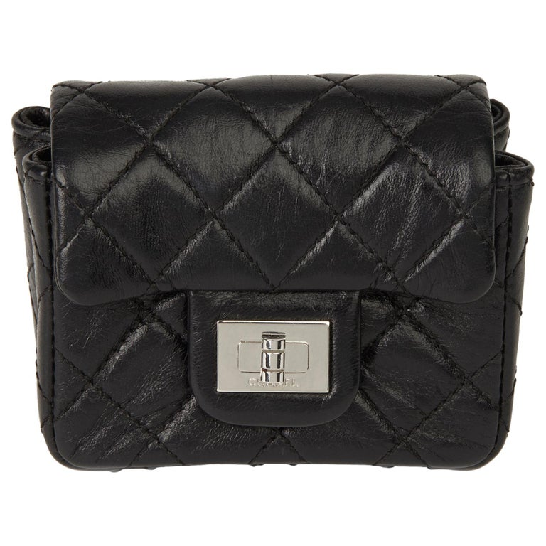 2009 Chanel Black Quilted Lambskin 2.55 Reissue Micro Ankle Flap Bag  For Sale