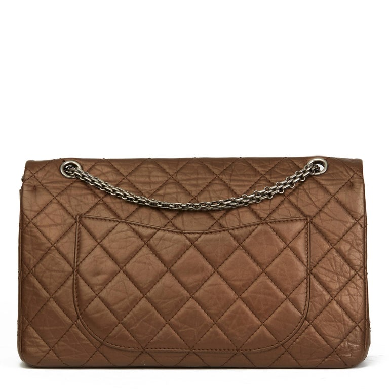 Women's 2009 Chanel Dark Bronze Metallic Aged Leather 2.55 Reissue 227 Double Flap Bag  For Sale