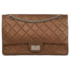 2009 Chanel Dark Bronze Metallic Aged Leather 2.55 Reissue 227 Double Flap Bag