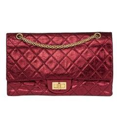 2009 Chanel Dark Red Metallic 2.55 Reissue 227 Double Flap Bag