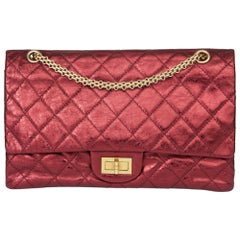 2009 Chanel Dark Red Quilted Metallic Aged Calfskin Leather 2.55 Reissue 227 Dou