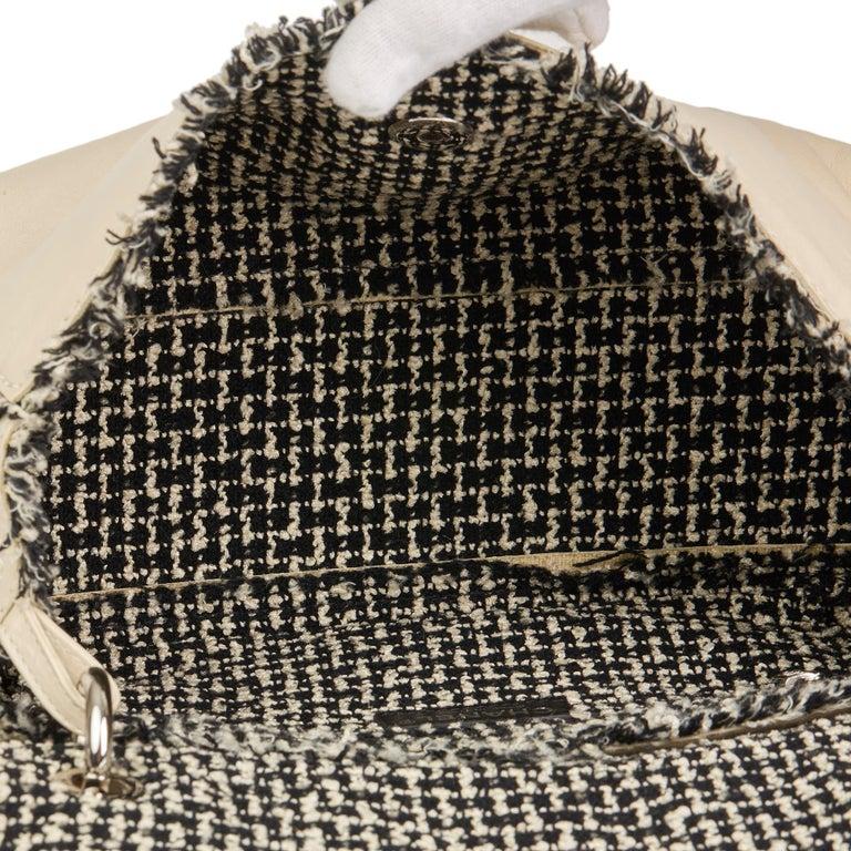 2009 Chanel Ivory Lambskin Leather & Black Tweed Classic Shoulder Bag 5