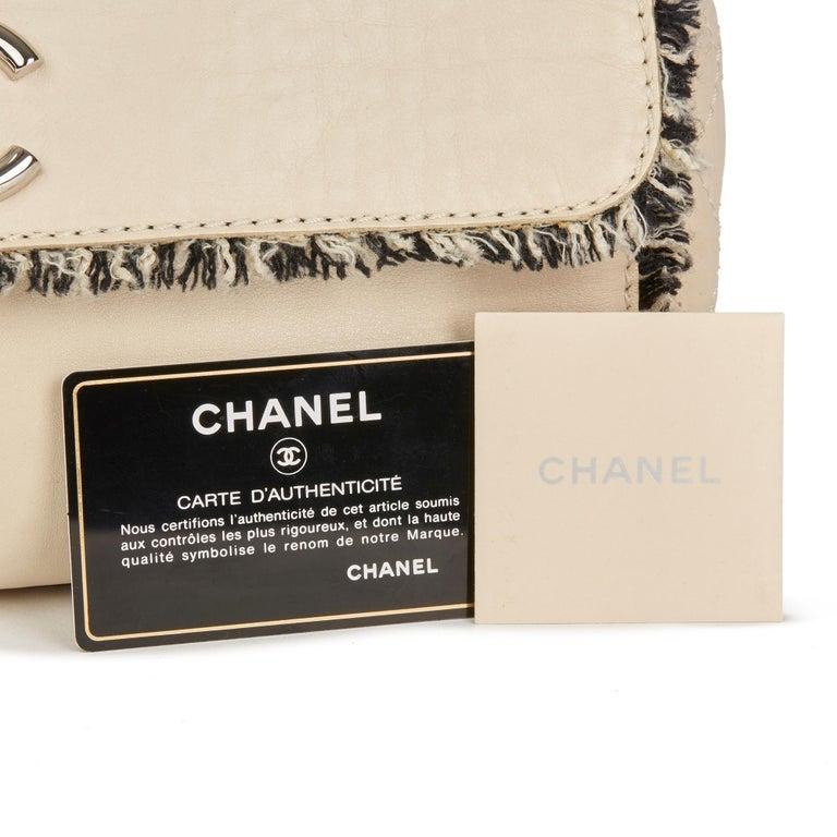 2009 Chanel Ivory Lambskin Leather & Black Tweed Classic Shoulder Bag 6