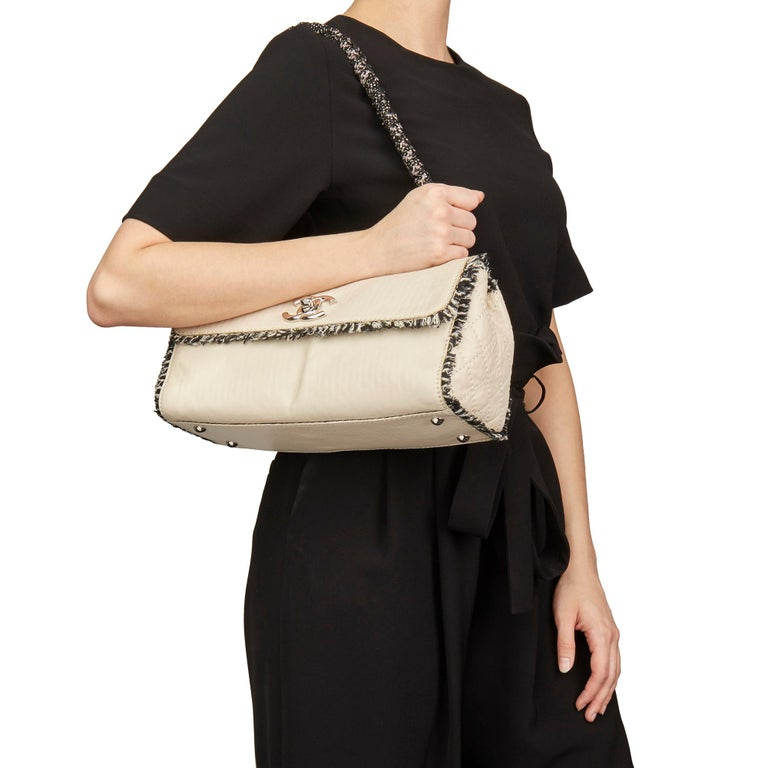 2009 Chanel Ivory Lambskin Leather & Black Tweed Classic Shoulder Bag 7