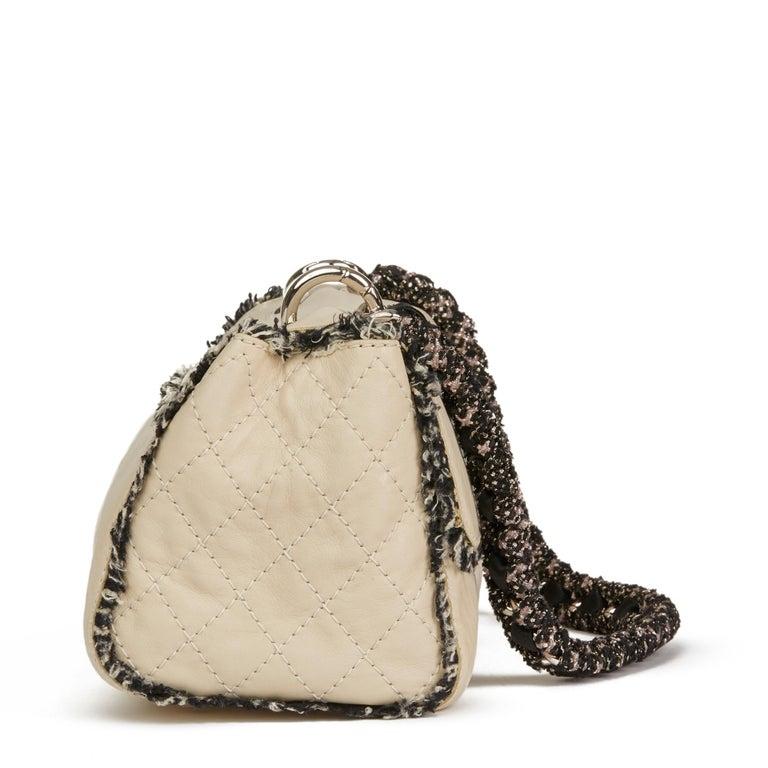 White 2009 Chanel Ivory Lambskin Leather & Black Tweed Classic Shoulder Bag