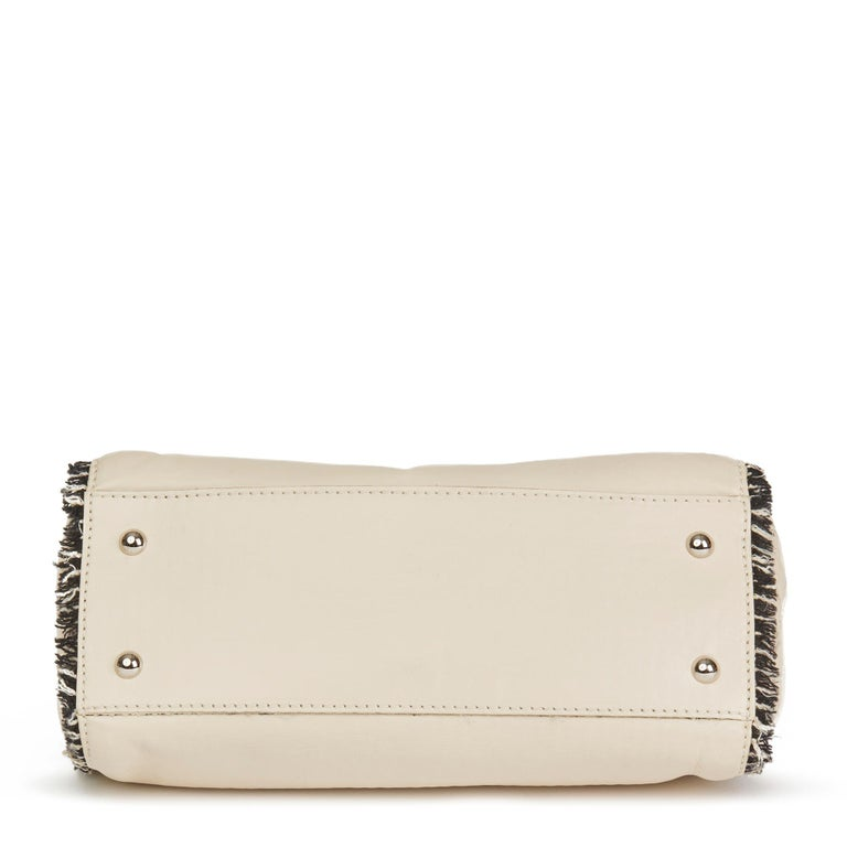 Women's 2009 Chanel Ivory Lambskin Leather & Black Tweed Classic Shoulder Bag