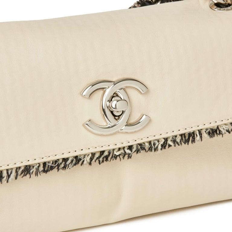 2009 Chanel Ivory Lambskin Leather & Black Tweed Classic Shoulder Bag 1