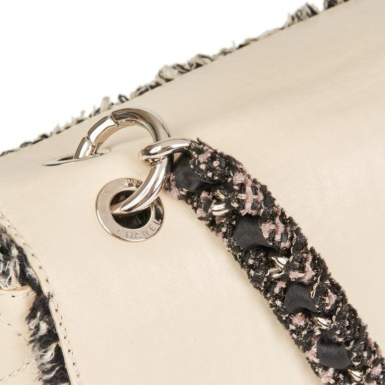 2009 Chanel Ivory Lambskin Leather & Black Tweed Classic Shoulder Bag 2
