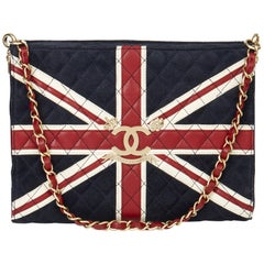 2009 Chanel Navy Suede, Red & White Lambskin Union Jack Shoulder Bag