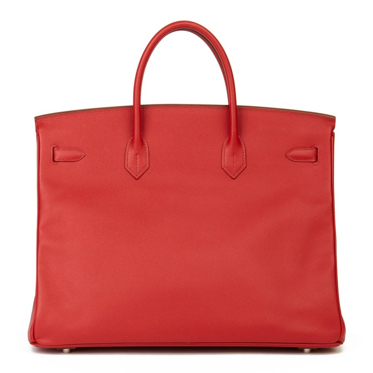 Women's 2009 Chanel Rouge Garance Epsom Leather Birkin 40cm For Sale