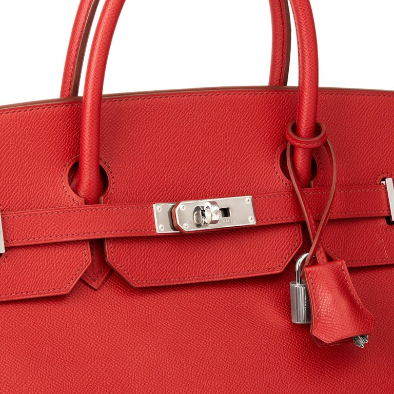 2009 Chanel Rouge Garance Epsom Leather Birkin 40cm For Sale 2
