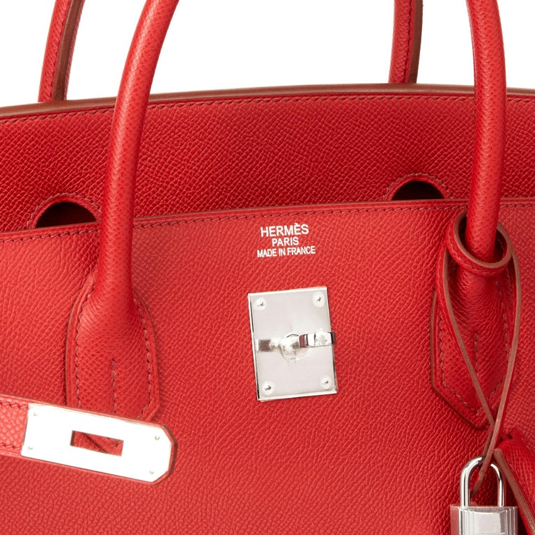 2009 Chanel Rouge Garance Epsom Leather Birkin 40cm For Sale 3