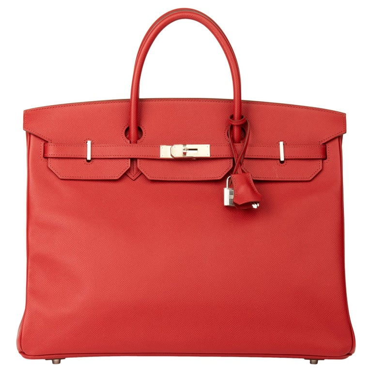 2009 Chanel Rouge Garance Epsom Leather Birkin 40cm For Sale