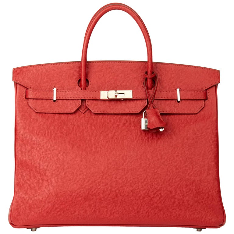 2009 Chanel Rouge Garance Epsom Leather Birkin 40cm For Sale