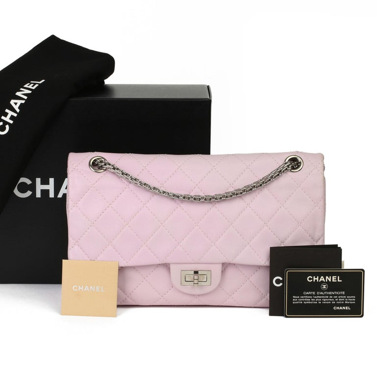 2009 Chanel Sakura Pink Quilted Lambskin 2.55 Reissue 226 Flap Bag For Sale 7