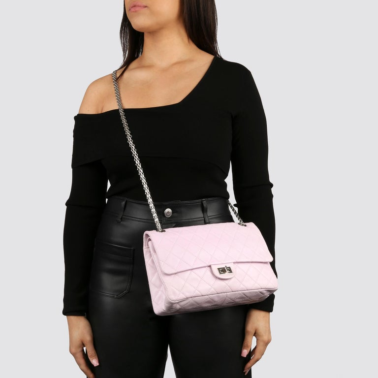 2009 Chanel Sakura Pink Quilted Lambskin 2.55 Reissue 226 Flap Bag For Sale 8