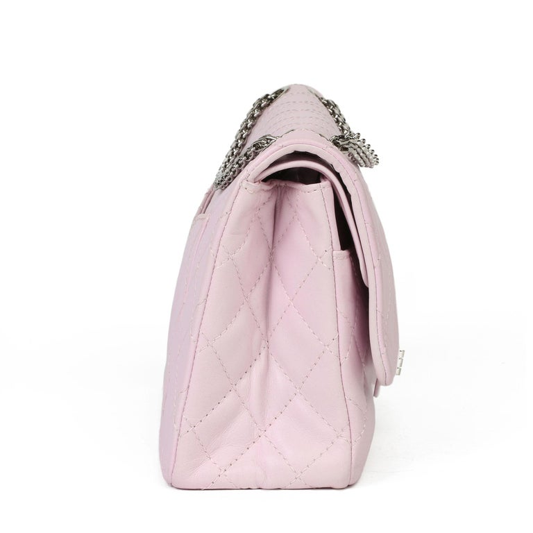 Beige 2009 Chanel Sakura Pink Quilted Lambskin 2.55 Reissue 226 Flap Bag For Sale