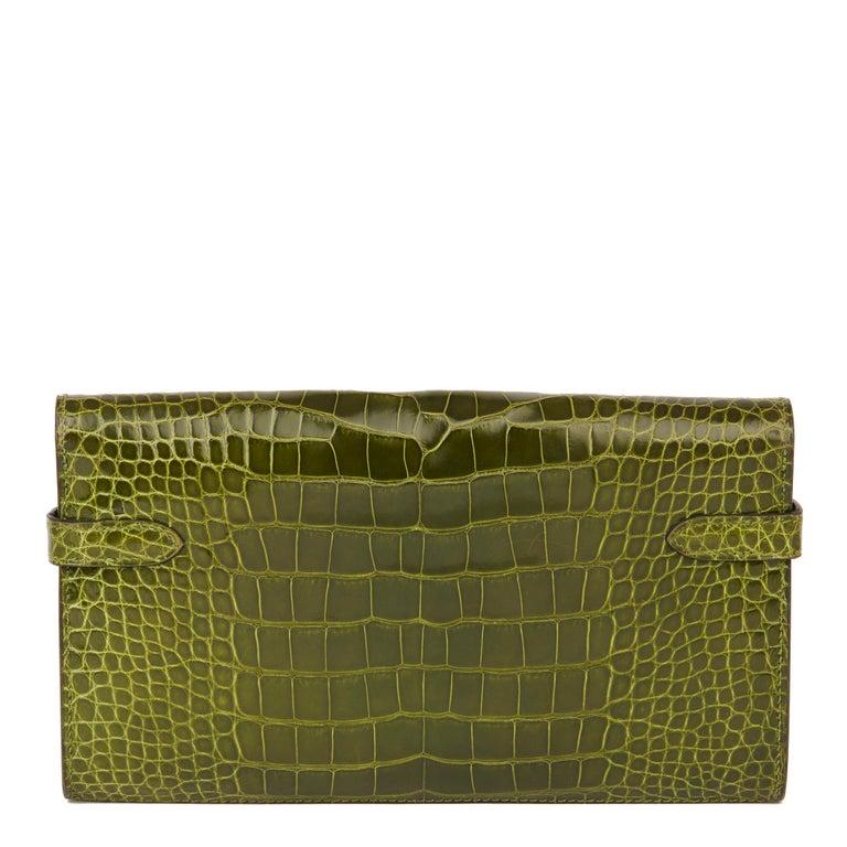 2009 Hermès Vert Perlouse Shiny Alligator Leather Kelly Long Wallet For Sale 1