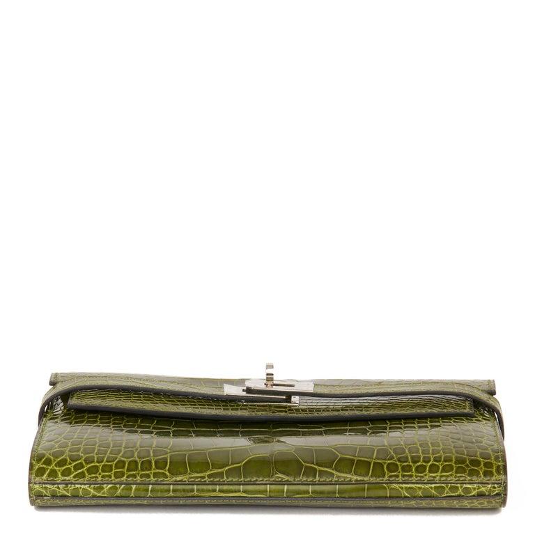 2009 Hermès Vert Perlouse Shiny Alligator Leather Kelly Long Wallet For Sale 2